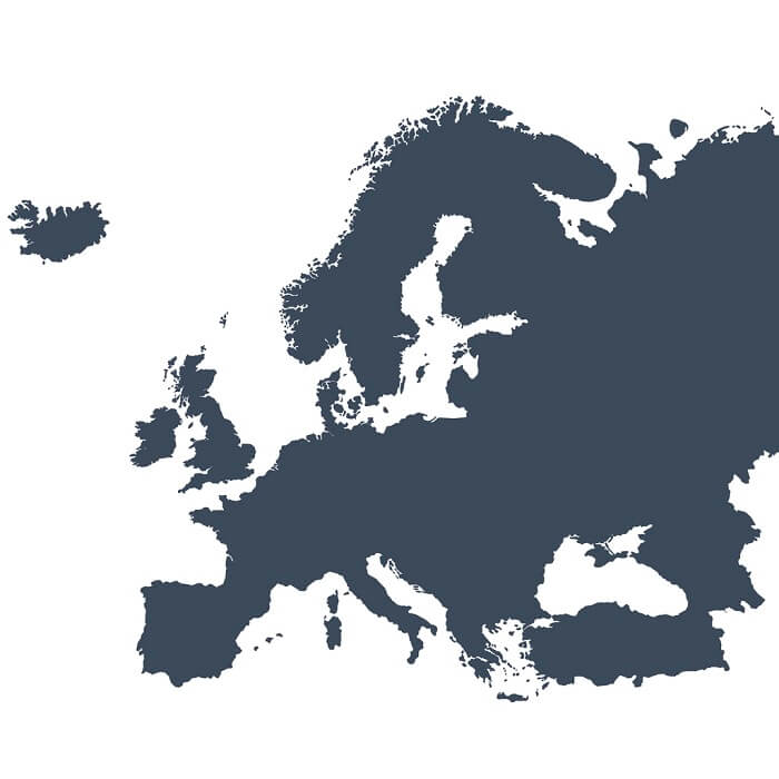 A graphic illustrated vector image showing the outline of the Europe. The outline of the country is filled with a dark navy blue colour and is on a plain white background. The border of the country is a detailed path.