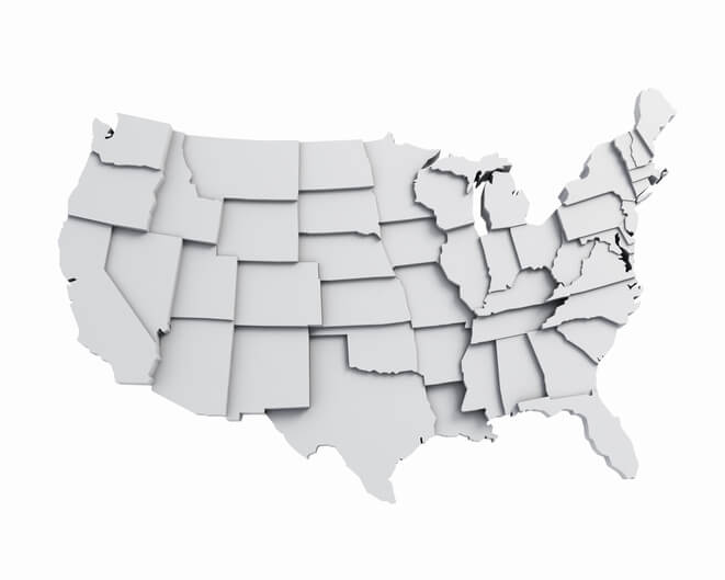 3D USA Map with states in different plane elevations